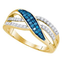 0.35 CTW Blue Color Diamond Ring 10KT Yellow Gold - REF-24H2M