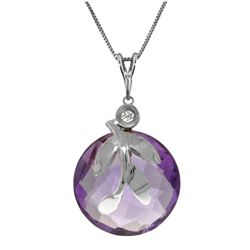 Genuine 5.32 ctw Amethyst & Diamond Necklace Jewelry 14KT White Gold - REF-31P2H
