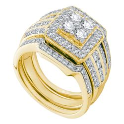 1.51 CTW Diamond Halo 3-Piece Bridal Engagement Ring 14KT Yellow Gold - REF-194Y9X