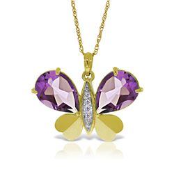 Genuine 6.6 ctw Amethyst & Diamond Necklace Jewelry 14KT Yellow Gold - REF-126N3R