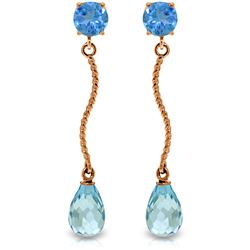 Genuine 4.3 ctw Blue Topaz Earrings Jewelry 14KT Rose Gold - REF-23X5M