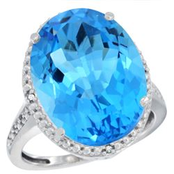 Natural 13.6 ctw Swiss-blue-topaz & Diamond Engagement Ring 14K White Gold - REF-75F6N
