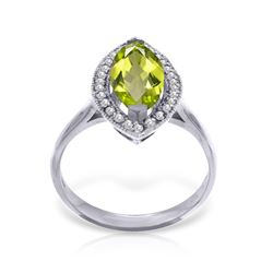 Genuine 2.15 ctw Peridot & Diamond Ring Jewelry 14KT White Gold - REF-71F3Z