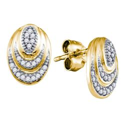 0.12 CTW Diamond Oval Stud Earrings 10KT Yellow Gold - REF-18F2N