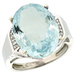 Natural 11.02 ctw Aquamarine & Diamond Engagement Ring 10K White Gold - REF-137R4Z