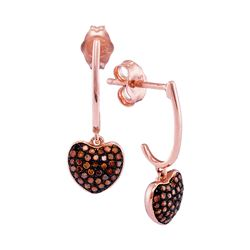 0.25 CTW Red Color Diamond Heart Dangle Earrings 10KT Rose Gold - REF-25M4H