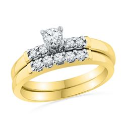 0.50 CTW Diamond Bridal Wedding Engagement Ring 10KT Yellow Gold - REF-59N9F