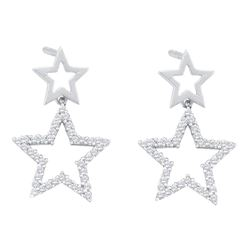 0.25 CTW Diamond Double Star Dangle Screwback Earrings 10KT White Gold - REF-22H4M