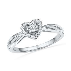 0.13 CTW Diamond Heart Love Solitaire Ring 10KT White Gold - REF-19Y4X
