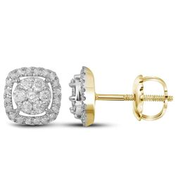 0.38 CTW Diamond Cluster Earrings 14KT Yellow Gold - REF-41Y2X