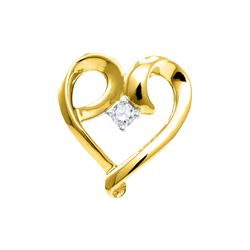 0.05 CTW Diamond Solitaire Heart Pendant 10KT Yellow Gold - REF-10F5N