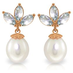 Genuine 9.5 ctw Aquamarine & Pearl Earrings Jewelry 14KT Rose Gold - REF-32R9P