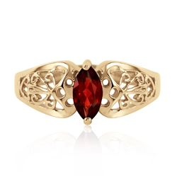 Genuine 0.20 CTW Garnet Ring Jewelry 14KT Yellow Gold - REF-47F2Z