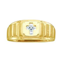 0.01 CTW Mens Diamond Cross Faith Ring 10KT Yellow Gold - REF-22Y4X