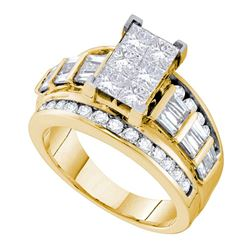 3 CTW Princess Diamond Cluster Bridal Engagement Ring 14KT Yellow Gold - REF-420H2M