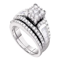 1.47 CTW Diamond Bridal Wedding Engagement Ring 14KT White Gold - REF-134N9F
