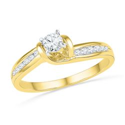 0.33 CTW Diamond Solitaire Bridal Engagement Ring 10KT Yellow Gold - REF-40W4K