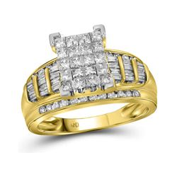 2 CTW Princess Diamond Cluster Bridal Engagement Ring 10KT Yellow Gold - REF-121X4Y