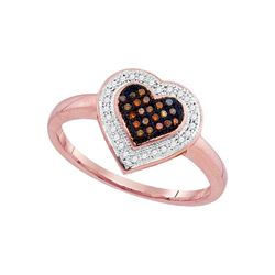 0.16 CTW Red Color Diamond Heart Love Ring 10KT Rose Gold - REF-22X4Y