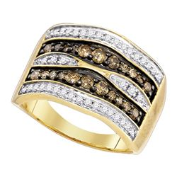 0.80 CTW Cognac-brown Color Diamond Cocktail Ring 10KT Yellow Gold - REF-52F4N