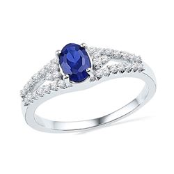 1.03 CTW Oval Created Blue Sapphire Solitaire Diamond Ring 10KT White Gold - REF-19H4M