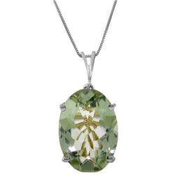 Genuine 7.55 ctw Green Amethyst Necklace Jewelry 14KT White Gold - REF-35A9K