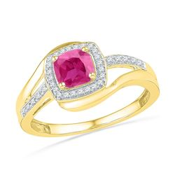 1.1 CTW Princess Created Pink Sapphire Solitaire Ring 10KT Yellow Gold - REF-18Y2X
