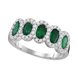1.37 CTW Diamond Oval Emerald Ring 18KT White Gold - REF-134K9W