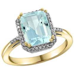 Natural 2.63 ctw Aquamarine & Diamond Engagement Ring 10K Yellow Gold - REF-45Y9X