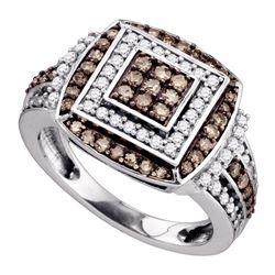 1.05 CTW Brown Color Diamond Square Cluster Ring 10KT White Gold - REF-67M4H
