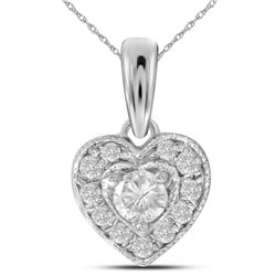 0.26 CTW Diamond Solitaire Heart Pendant 14KT White Gold - REF-30M2H