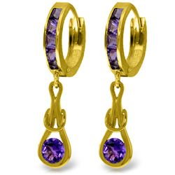 Genuine 2.15 ctw Amethyst Earrings Jewelry 14KT Yellow Gold - REF-75T2A