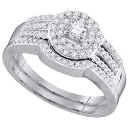 0.48 CTW Diamond Strand Halo Bridal Wedding Engagement Ring 10KT White Gold - REF-52H4M