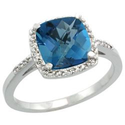 Natural 3.92 ctw London-blue-topaz & Diamond Engagement Ring 14K White Gold - REF-35K9R