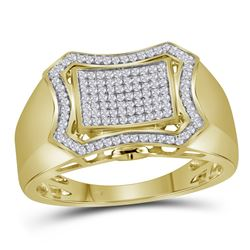 0.38 CTW Mens Diamond Curved Octagon Cluster Ring 10KT Yellow Gold - REF-44F9N