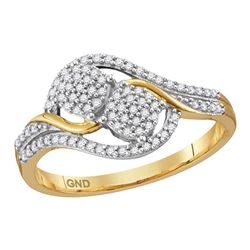 0.20 CTW Diamond Double Circle Cluster Ring 10KT Yellow Gold - REF-22N4F