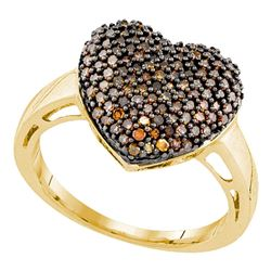 0.60 CTW Cognac-brown Color Diamond Heart Love Ring 10KT Yellow Gold - REF-37F5N