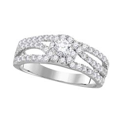 1.02 CTW Diamond Solitaire Bridal Engagement Ring 14KT White Gold - REF-89H9M