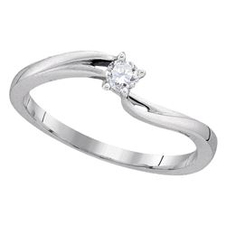 0.11 CTW Diamond Solitaire Bridal Ring 10KT White Gold - REF-14H9M