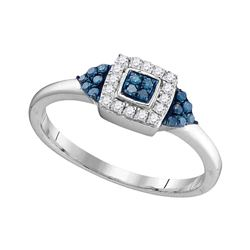 0.20 CTW Blue Color Diamond Square Cluster Ring 10KT White Gold - REF-16Y4X