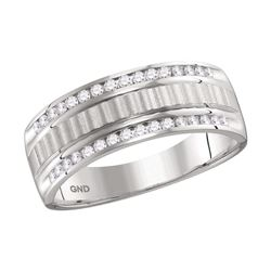 0.33 CTW Mens Channel-set Diamond Textured Wedding Ring 14KT White Gold - REF-64W4K