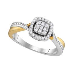 0.20 CTW Diamond Square Cluster Bridal Engagement Ring 10KT Two-tone Gold - REF-26M9H
