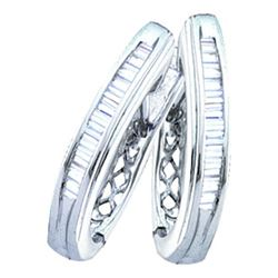1 CTW Diamond Hoop Earrings 14KT White Gold - REF-64Y4X