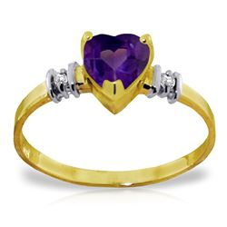 Genuine 0.98 ctw Amethyst & Diamond Ring Jewelry 14KT Yellow Gold - REF-31Z2N