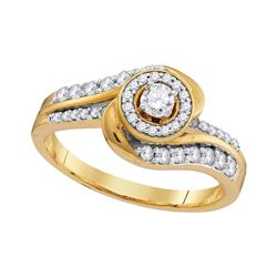 0.48 CTW Diamond Bridal Wedding Engagement Anniversary Ring 10KT Yellow Gold - REF-55H5M