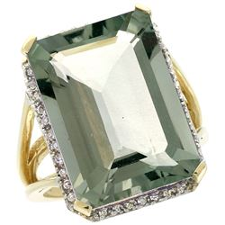 Natural 15.06 ctw green-amethyst & Diamond Engagement Ring 14K Yellow Gold - REF-81Y9X