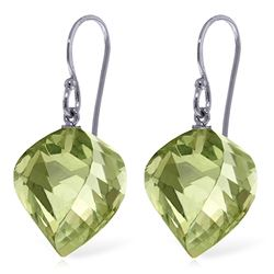 Genuine 26 ctw Green Amethyst Earrings Jewelry 14KT White Gold - REF-42R2P