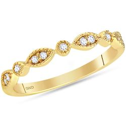 0.10 CTW Diamond Stackable Ring 14KT Yellow Gold - REF-22H4M