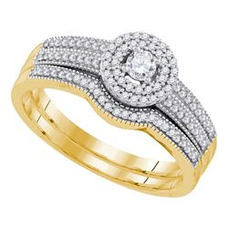 0.33 CTW Diamond Halo Bridal Engagement Ring 10KT Yellow Gold - REF-44W9K