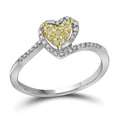 0.26 CTW Yellow Color Diamond Heart Ring 10KT White Gold - REF-18N7F